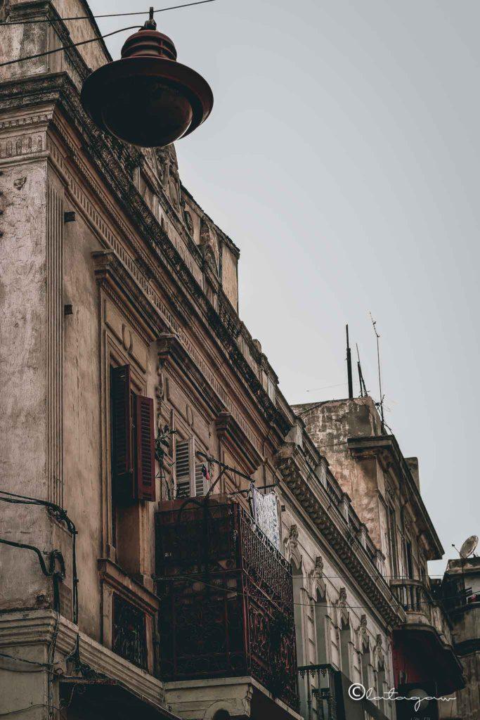 facade of a building in casablanca morocco with street light