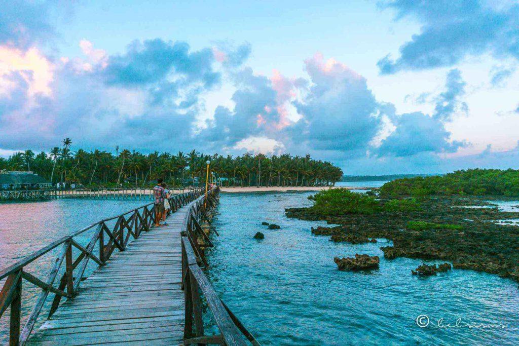 the wooden bridge leading to cloud 9 beach resort in siargao