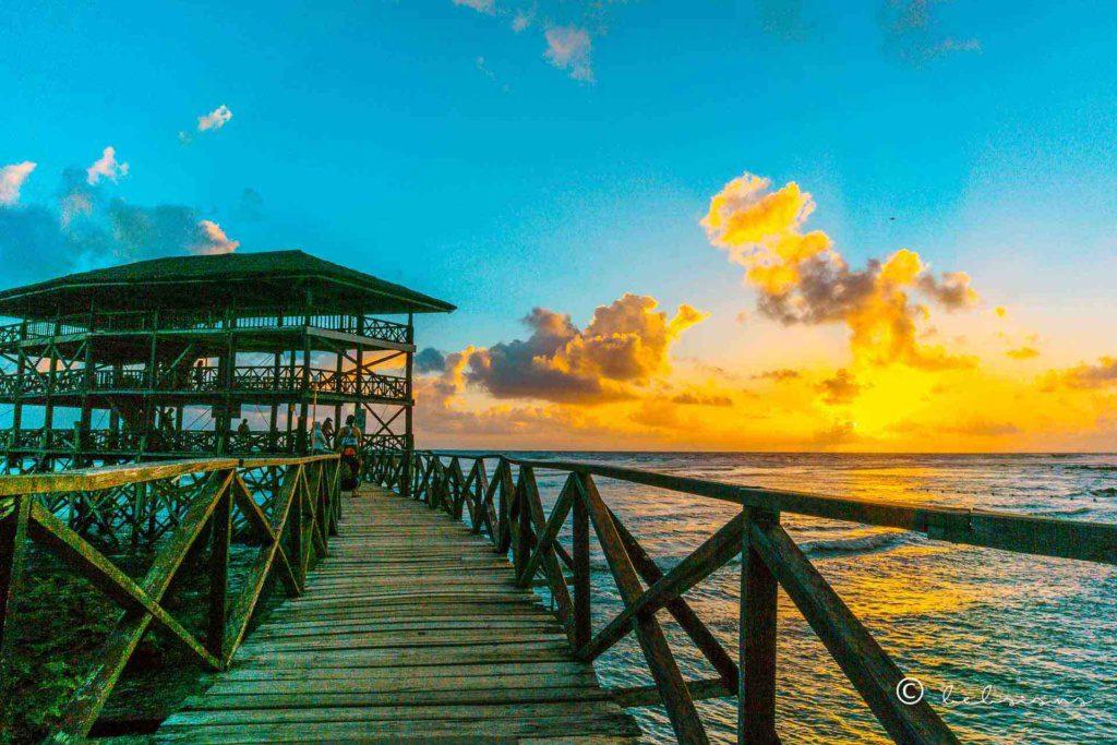 bridge towards the cottage with sunrise